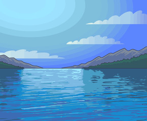 Night moonlight landscape colorful illustration