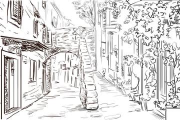 Fotobehang Illustratie Parijs Drawing to the greek town - sketch illustration
