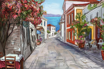 Fotobehang Smal steegje Drawing to the greek town - illustration