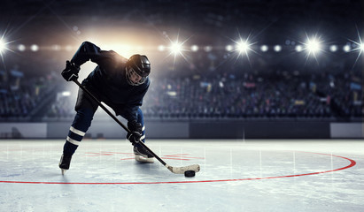 Hockey player on ice   . Mixed media Wall mural