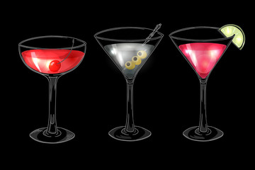 Set of hand drawn alcoholic cocktails on dark background