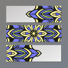 set vector horizontal banners with colorful mandala. Islam, Arabic, Indian, ottoman motifs. Oriental colorf mandalas.