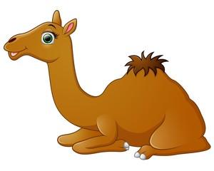 Happy camel cartoon lying down