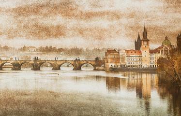 Charles Bridge in Prague (Karluv Most) the Czech Republic. Vintage effect.