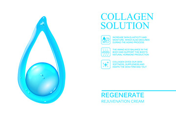 Abstract oil drop of regeneration cream. Skin care cosmetics for beauty skin. Organic cosmetic and skin care cream label template over white background. Vector illustration.