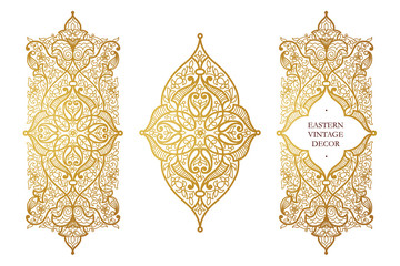 Vector set of illustrations in Eastern style. Wall mural