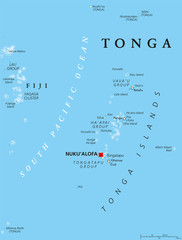 Tonga political map with capital Nukualofa. Kingdom, sovereign state and archipelago in Polynesia with the main island Tongatapu. Known as the Friendly Island. English labeling. Illustration.