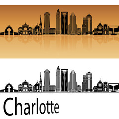 Charlotte skyline in orange