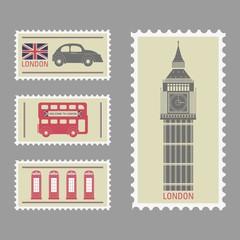 Fotobehang Vintage Poster London stamps