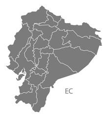 Ecuador provinces Map grey