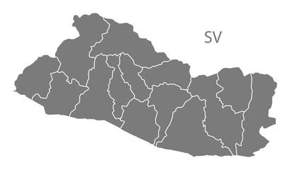 El Salvador departments Map grey