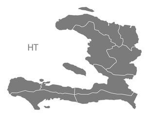 Haiti departments Map grey