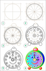 Page shows how to learn step by step to draw clock. Developing children skills for drawing and coloring. Vector image.
