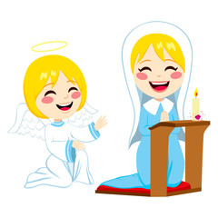 Mary praying happy and angel Gabriel bringing good news about Jesus birth