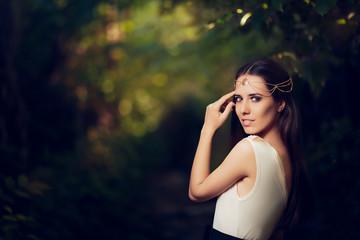 Beautiful Fairy Princess Girl in Summer Fantasy Landscape