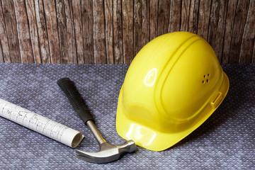 Bauzeichnung und Zollstock