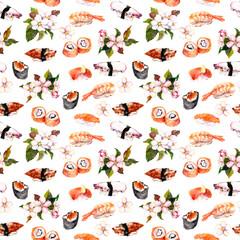 Sushi, sakura flowers seamless repeat pattern. Watercolor food