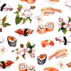 Sushi, sakura flowers seamless repeat pattern. Watercolor food