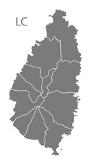 St Lucia districts Map grey