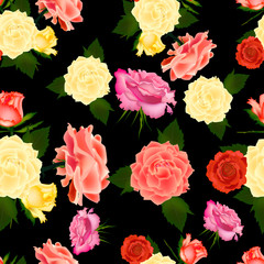Seamless vintage cute rose vector pattern background.