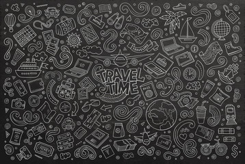 Vector doodle cartoon set of travel theme items