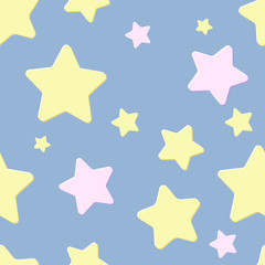 pastel blue seamless pattern with night sky and pink and yellow cartoon stars