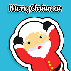 Flat Merry Christmas banner. Flat Little Santa Claus. Flat blue color background