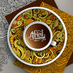 Vector illustration African doodle cup of coffee