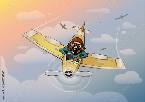 Aircraft pilot funny vector illustration