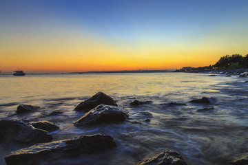 Silky sea view via long exposure with nd filter during sunset