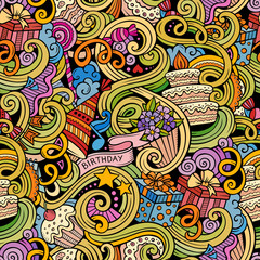 Cartoon hand-drawn doodles birthday seamless pattern