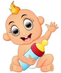 Happy baby cartoon holding milk bottle