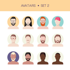 Man face avatars set