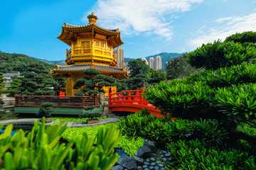 View of The Golden Pavilion Temple in Nan Lian Garden