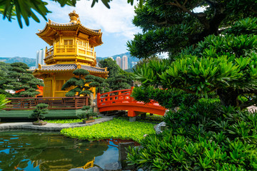 Front View The Golden Pavilion Temple in Nan Lian Garden