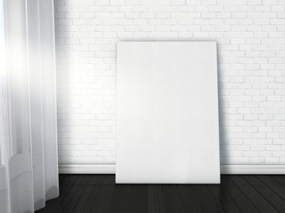 Empty canvas poster on tje bright loft interior. Blank poster mock up on white brick wall with dark wooden floor opposite window. 3d illustration