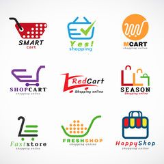 Shopping cart logo and shopping bags logo vector set graphic design