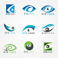 Eye logo sign vector set graphic design