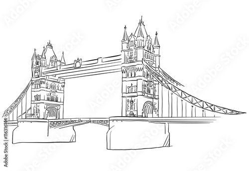 u0026quot london tower bridge outline sketched u0026quot  stock image and