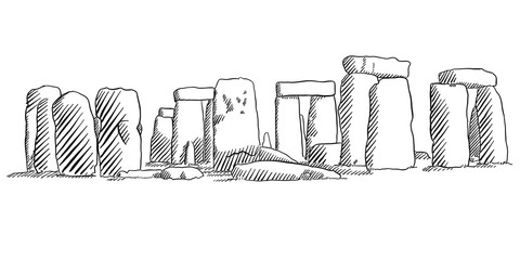 Stonehenge, England Historical Monument Sketch Wall mural