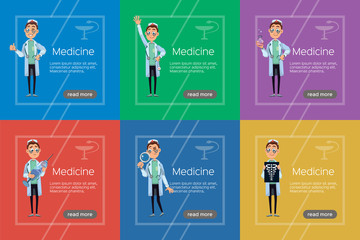 Doctor flat banner illustration