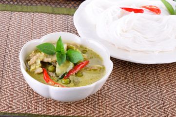 Green pork curry,Thai cuisne in bowl