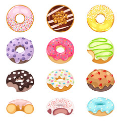 Set of cute sweet colorful donuts. Brown chocolate yummy cookie donuts food. Candy decoration color donuts collection. Glazed pastry delicious colorful snack cartoon, eat vector candy.