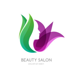 Female face on green leaves and lily flower background. Vector logo, label, emblem design elements. Womens profile and tulip flower. Concept for beauty salon, massage, cosmetic and spa.