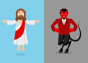 Jesus and devil. Christ and Satan. Son of God and demon Lucifer.