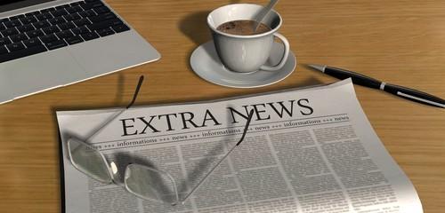 Zeitung auf Schreibtisch - Extra News