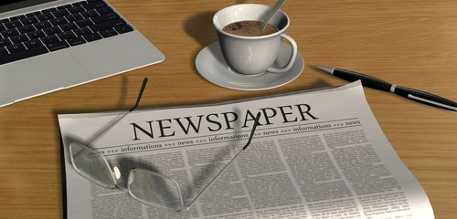 Zeitung auf Schreibtisch - Newspaper