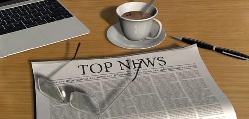 Zeitung auf Schreibtisch - Top News