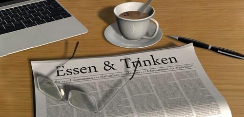Zeitung auf Schreibtisch - Essen & Trinken