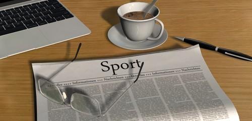 Zeitung auf Schreibtisch - Sport